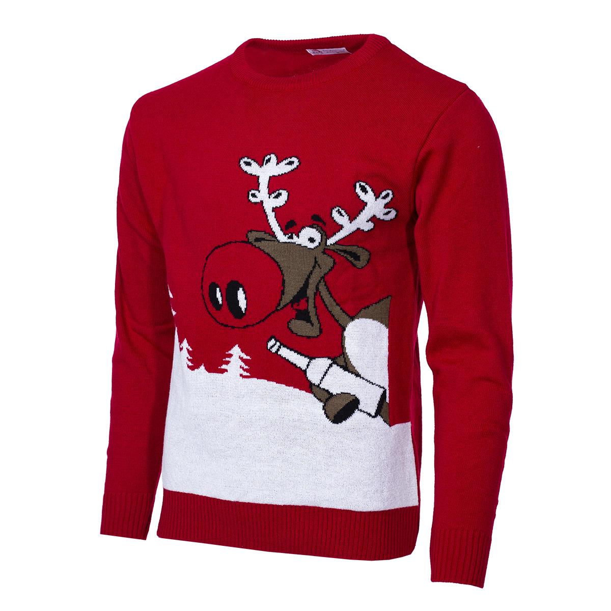 Pánský vánoční svetr se sobem Drunk Reindeer červený S