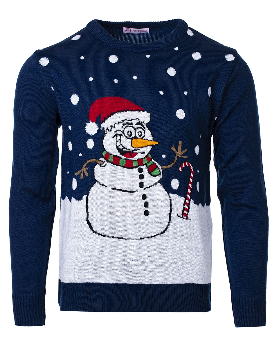 Pánský vánoční svetr Snowman tmavě modrý S